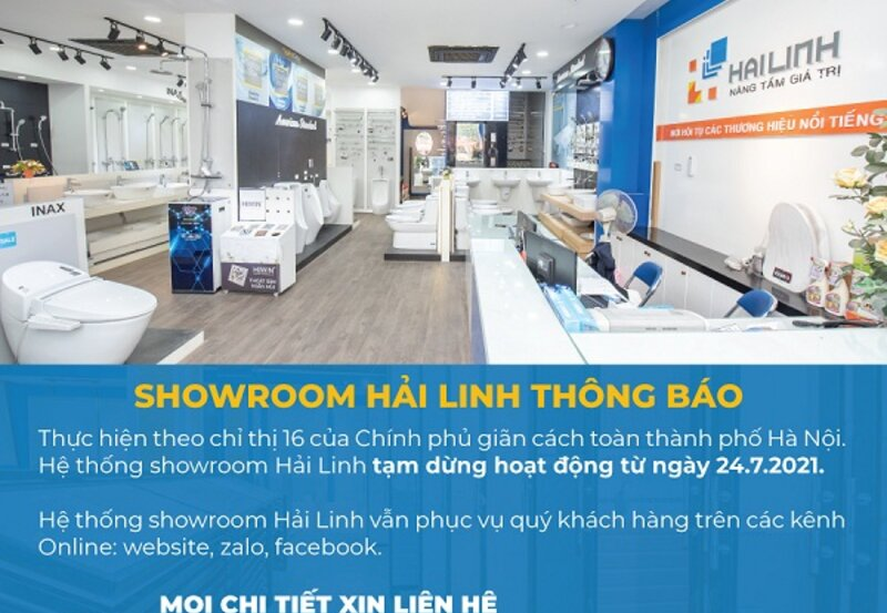 [Thông báo ngày 24/7/2021]Hải Linh dừng đón tiếp khách đến mua hàng tại hệ thống Showroom