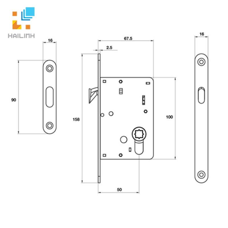 Thân khóa cửa Hafele 911.26.523