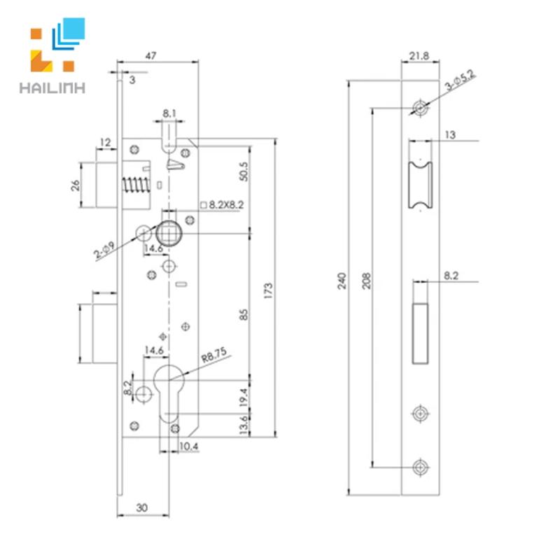 Thân khóa cửa Hafele 911.77.263