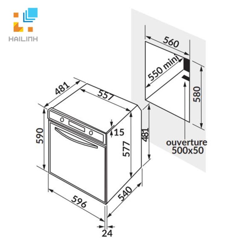 Lò nướng điện – 5 chức năng Rosieres RFI4064MIN