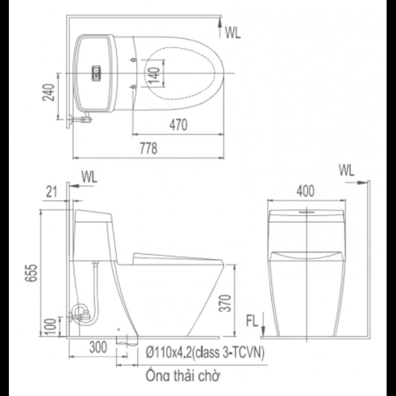 Bồn cầu nắp rửa điện tử Inax AC-909R+CW-KB22AVN