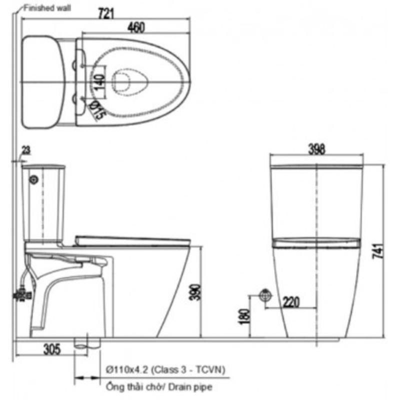 Bồn cầu INAX ACT-602VN 2 khối xả tự động